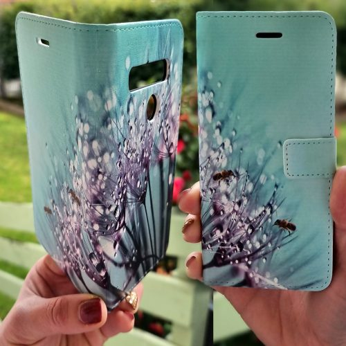 Flip Wallet Mobile Phone Cover featuring Bees on the tip of Dandelion Droplets