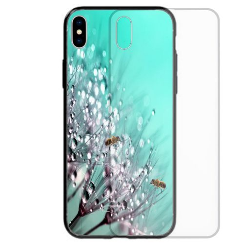 Mobile Phone Cover Tempered Glass Back Case featuring Bees on the tip of Dandelion Droplets