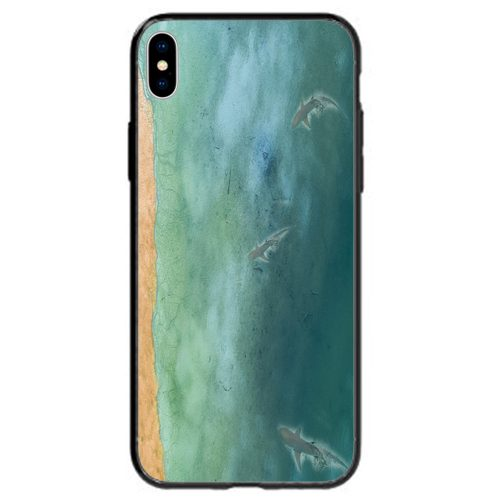 Sharks on Beach Seashore Theme Print Back Case Phone Cover